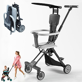 Xe đẩy trẻ em, Xe đẩy du lịch đảo chiều gấp gọn siêu nhẹ Playkids có mái che nắng, trọng lượng chỉ 3,7kg, để được đằng trước xe máy, gấp gọn đựng được trong vali xách tay ( TẶNG KÈM BỘ THẺ HỌC THÔNG MINH 16 CHỦ ĐỀ 416 THẺ CHO BÉ )