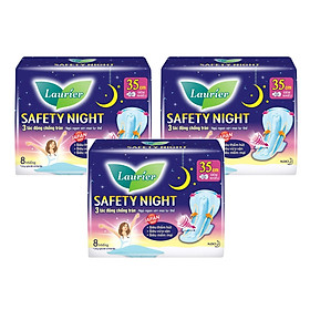 Combo 3 gói Băng Vệ Sinh Ban Đêm Laurier Safety Night chống tràn [35cm-8M]