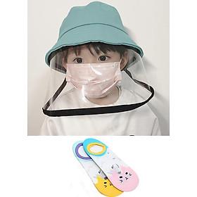 Mũ vải thời trang có kính bảo vệ chống nắng chống bụi chống dịch dành cho bé + Tặng kèm đôi tất ren hình mèo