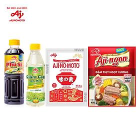 [COMBO 4] 2 Bột ngọt AJI-NO-MOTO 454g + 2 Hạt nêm Aji-ngon 400g + 2 Giấm gạo lên men + 2 Nước tương Phú Sĩ