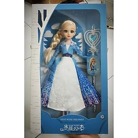 Búp bê nữ hoàng băng giá Frozen Elsa cao 37cm mắt ngọc nhắm - mở có khớp tay chân mặc váy bông tuyết lấp lánh kèm quyền trượng