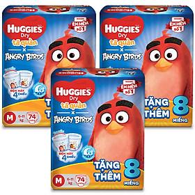 Combo 3 Gói Tã Quần Huggies Dry Gói Cực Đại Angry Birds phiên bản giới hạn M74 (74 Miếng) - Tặng 8 miếng
