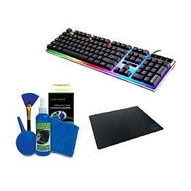 COMBO Bàn phím G21 LED giả cơ game chuyên dụng + Bộ vệ sinh 4 món ( TẶNG  lót chuột ) - Màu ngẫu nhiên - Hàng nhập khẩu