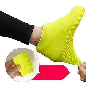 Vỏ bọc giày đi mưa silicon chống trượt chống nước tái sử dụng ( giao mầu ngẫu nhiên )