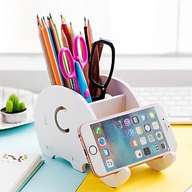 Khay để bàn làm việc đựng đồ dùng kiêm giá đỡ điện thoại voi con - màu trắng