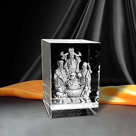 Tượng Tam Đa Phúc Lộc Thọ bằng pha lê 3D - Trang Trí phòng khách/văn phòng/quà tặng may mắn