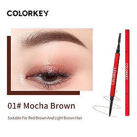 Colorkey Dual-ended Eyebrow Pencil with Brush Waterproof Long-lasting Natural Eyebrow Pen Eye Makeup -Red tube
