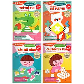 Sách thiếu nhi Nhật Bản - COMBO 4 cuốn TRÍ TUỆ VUI - CÂU ĐỐ HÌNH - CÂU ĐỐ SUY LUẬN cho bé từ 3-7 tuổi