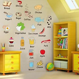 Decal dán tường từ vựng tiếng anh về các loại thực phẩm cho bé AM7009