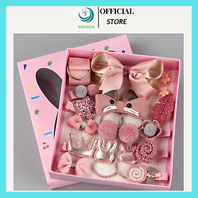 Phụ kiện tóc cho bé phong cách Hàn Quốc 17 món kèm hộp, giao màu ngẫu nhiên+ Tặng kèm hình dán nam châm hình que kem cho bé