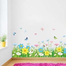 Decal dán chân tường hàng rào hoa ZOOYOO XL7186