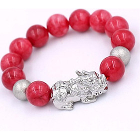 Vòng tay Tỳ hưu inox trắng - Chuối đá hồng ngọc 14 ly VHNTHHBT14 - Chuỗi hạt Size lớn