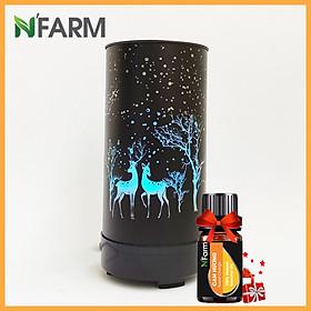 Combo máy khuếch tán/ máy xông tinh dầu Trụ Hươu  Đế Xoay N'Farm + tinh dầu cam N'Farm (10ml).