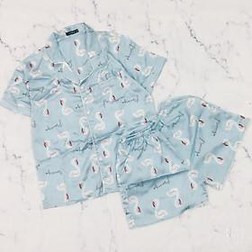 (40-55kg) Đồ bộ pijama/pizama/pyjama đùi nữ chất satin. Đồ bộ mặc  nhà nữ. Đồ bộ mặc ngủ nữ. Ảnh thật sản phẩm. Họa tiết: mặt trăng - ngôi sao - cô bé - gấu brown thỏ cony - hồng hạc flamingo - mèo kitty