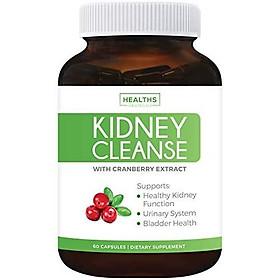 Viên uống Healths Harmony Kidney Cleanse (Non-GMO & Vegetarian) chiết xuất Cranberry Hỗ trợ Kiểm soát bàng quang & Đường tiết niệu 60 viên (Không phải thuốc) Nhập Khẩu Mỹ