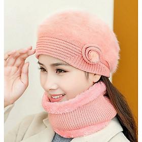 Mũ Len Bere tặng kèm Khăn Choàng Nón Len Nữ Lông THỏ Thời Trang Hàn Quốc DONA20122102