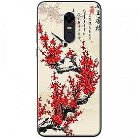Ốp lưng dành cho Xiaomi Redmi 5 Plus mẫu Hoa đào đỏ thư pháp