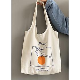 Túi tote/ Túi vải đeo vai họa tiết quả cam nổi bật LA714