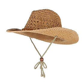 Adults Kids Western Cowboy Straw Hat Summer Wide Brim Sun Hat