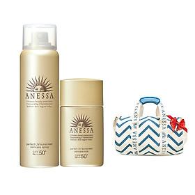 Bộ đôi Kem chống nắng Anessa dạng xịt 60g và Kem chống nắng dạng sữa bảo vệ hoàn hảo 20ml - Tặng Túi trống thể thao Anessa