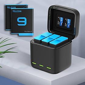 Dock Sạc 3 + 2 Pin Cho GoPro 9 Telesin Có Nắp Đậy - Bộ Pin Sạc Cho GoPro Hero 9 (Hàng Chính Hãng)