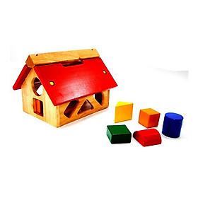 Đồ Chơi Gỗ Thông Minh - Bộ Đồ Chơi Nhà Thả Khối Hình Bằng Gỗ (1 nhà gỗ, 10 khối, 5 màu) - Sản xuất tại Việt Nam, an toàn, đạt chuẩn Quatest 3 - Dành cho bé từ 3 tưởi trở lên