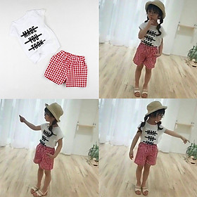 Set quần caro đỏ và áo thun trắng phối ren cho bé gái 1-6 tuổi từ 12 đến 24 kg 01556