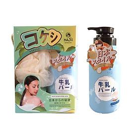 COMBO GIFT SET Sữa tắm Hasi Kokeshi dưỡng trắng da chiết xuất Sữa Bò-Ngọc Trai 600ml & Bông tắm