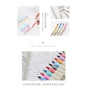 Bút brush màu nước, ngòi mềm, màu sắc cute, trang trí sổ tay