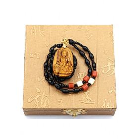 Hình đại diện sản phẩm Vòng cổ Văn Thù Bồ Tát đá mắt hổ 3.8cm VHMH3 kèm hộp gỗ