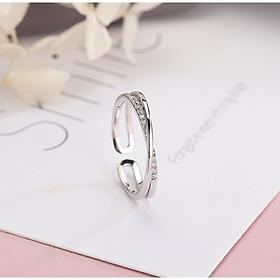 Nhẫn Bạc Ý  925 Nhẫn bạc ren đôi vắt chéo, dễ thương,  đầy cá tính