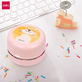 Deli Cute Cartoon Desktop Cleaner Portable Mini Vacuum Cleaner Household Dust Collector Computer Keyboard Cleaner Office School Stationery Supplies