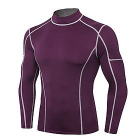 Men Sport Shirts Long Sleeved T-shirt Turtleneck Quick-Dry Performance Athletic Gym Running Workout Training Tees Casual