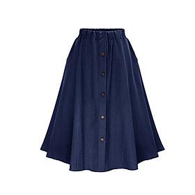 Chân váy Denim đính cúc chất thoáng mát free size VAY01