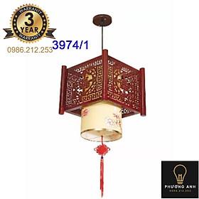 Đèn lồng gỗ thả bàn ăn, trang trí phòng bếp, phòng khách sang trọng cổ điển mã 3974/1