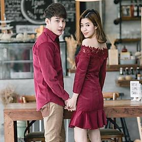 Set Áo đôi nam nữ, đồ cặp Hàn Quốc váy đuôi cá trễ vai áo sơ mi đẹp màu đỏ đô đi biển chụp hình cưới vải đẹp hàng cao cấp