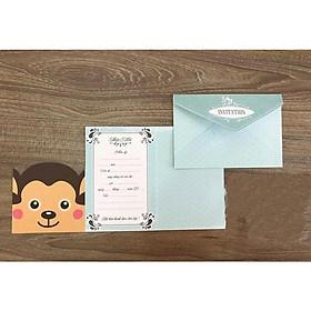 Combo 20 thiệp mời sinh nhật hình khỉ con IM-1801-M