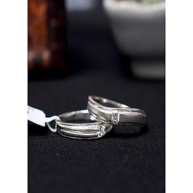 Nhẫn đôi Glosbe 7 xi bạch kim cỡ lớn
