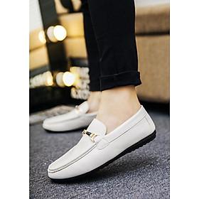 Giày da Nam Phong cách Lịch lãm Có Đai Ngang TN28 - Trắng