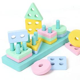 Thả Khối Hình Học Đế Chữ Nhật 5 Cột Màu Pastel Bắt Mắt. Đồ Chơi Giáo Dục Sớm Montessori Cho Bé Từ 1 Tuổi ETED35NYN161C