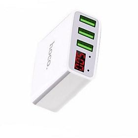 Cốc sạc Hoco C15 3 cổng USB,màn led báo điện áp - Hàng chính hãng