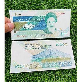 Tiền Iran 10000 Rials chân dung giáo chủ Ali Khamenei và ngọn núi linh thiêng, mới 100% UNC, tặng túi nilon bảo quản
