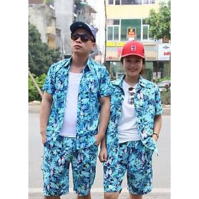 Bộ hoa quả mặc đi biển (hoa xanh) - MADE IN VIETNAM
