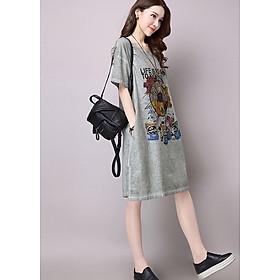 Đầm suông linen nữ in họa tiết trẻ trung ArcticHunter, thời trang thương hiệu chính hãng