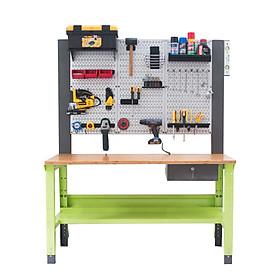 Bàn nguội thao tác cơ khí Workbench mặt bàn tre khung Pegboard WB