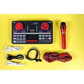 Combo livestream chuyên nghiệp XOX BP3 bao gồm đầy đủ sound card USB, micro và tai nghe tích hợp Bluetooth, reverb, auto-tune và voive-changing, nút chức năng hiệu ứng kép - Hàng chính hãng