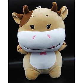 Thú Nhồi Bông/ Gấu Bông Chú Bò Siêu Cute 30 Cm (Tặng kèm móc khóa da bò thật màu ngẫu nhiên) BA00186