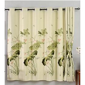 Rèm cửa rèm che nắng hoa sen thư pháp 1m ngang x 2m cao ( tấm)