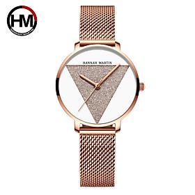 Đồng hồ nữ siêu mỏng chính hãng Hannah Martin HM-1332 dây thép mặt nhỏ MÃ HM-1332