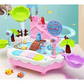 Bộ tổ hợp đồ chơi lắp ráp 2 trong 1 câu cá, cầu trượt, leo thang dùng nước có âm thanh, ánh sáng (màu ngẫu nhiên)